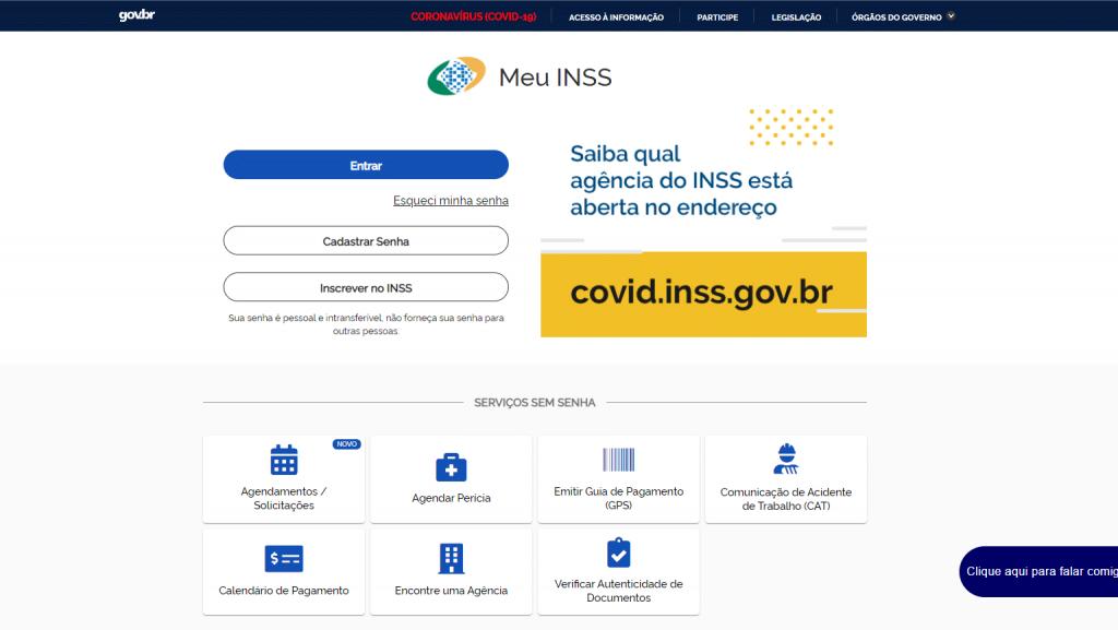 Tela do site MEU INSS onde é feito o pedido de revisão de aposentadoria em 2021